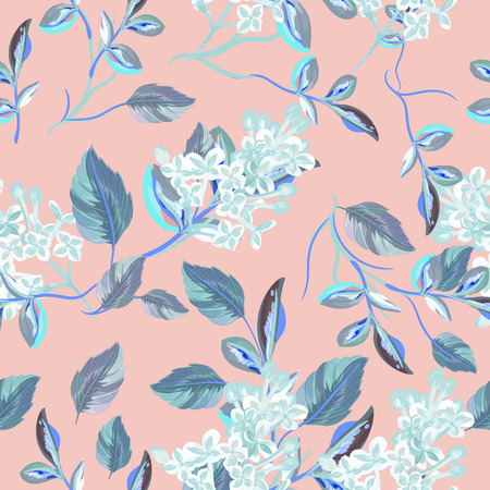 Beautiful floral vector pattern with spring florals and flowers Stok Fotoğraf - 125279040
