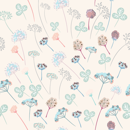 Beautiful floral vector pattern with rustic flowers