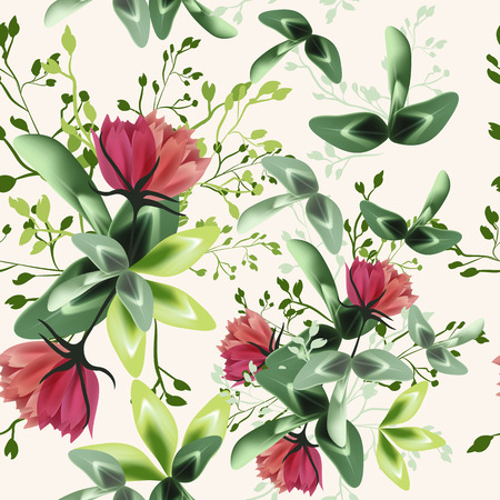 Fashion textile floral vector pattern with rustic clover flowers Stok Fotoğraf - 125279043