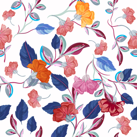 Fashion floral vector pattern with flowers in watercolor style Çizim