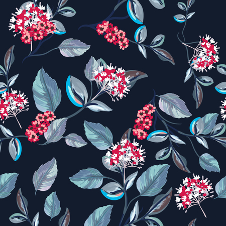 Beautiful floral vector pattern with flowers in watercolor style