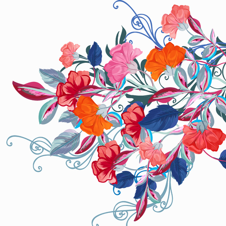 Fashion floral background with vector flowers for design Çizim