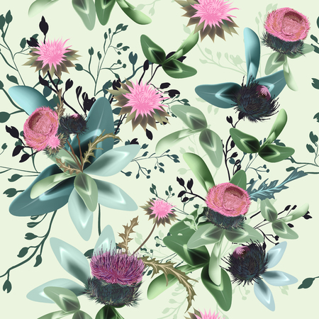 Fashion textile floral vector pattern with rustic clover flowers Çizim
