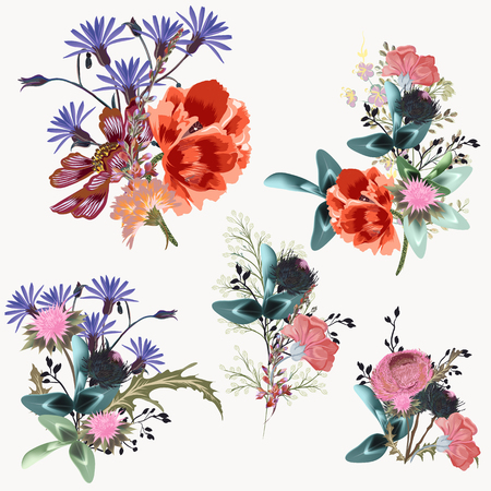 Collection of vector realistic flowers for design Çizim