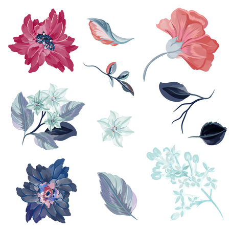 Collection of vector flowers in watercolor style Stok Fotoğraf - 125279049