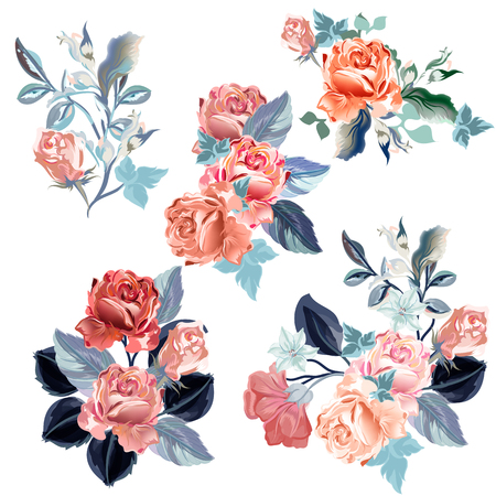Set of vector watercolor roses for design