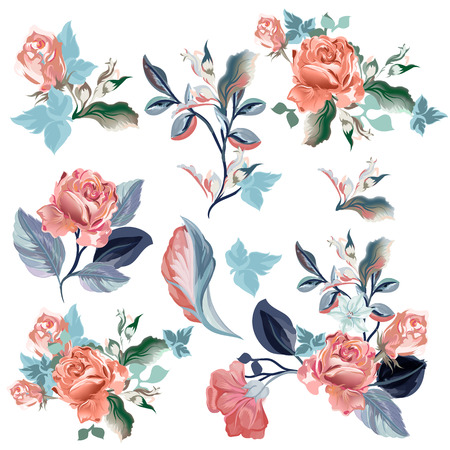 Collection of vector realistic watercolor roses for design