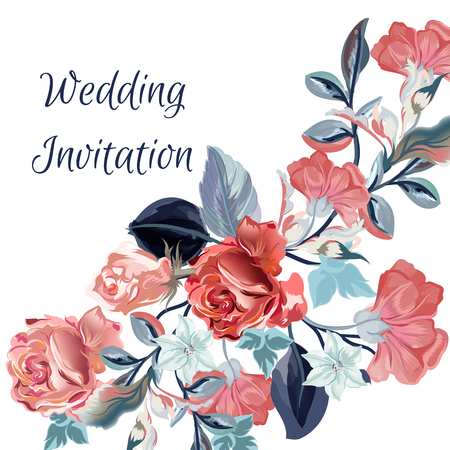 Save the date card or wedding vector invitation with flowers