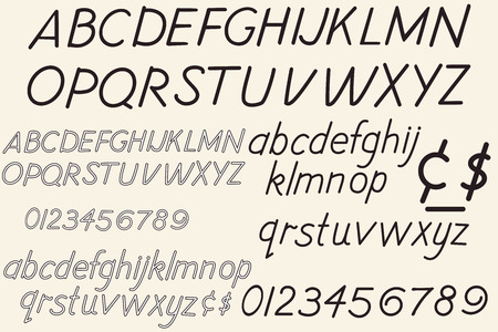 Collection of vector retro letters, font and alphabet