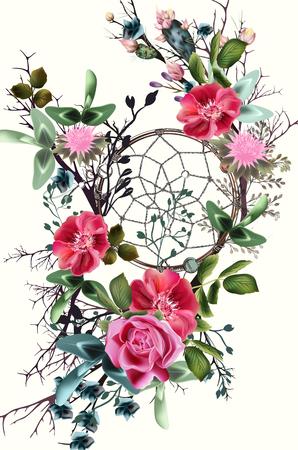 Beautiful boho illustration with dreamcatcher, clover flowers, roses and cactuses for save the date cards or wedding design Ilustração