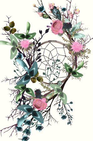 Beautiful boho illustration with dreamcatcher, clover flowers and cactuses for save the date cards or wedding design Ilustração