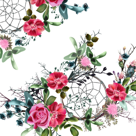 Beautiful floral vector dreamcatcher with watercolor rose flowers