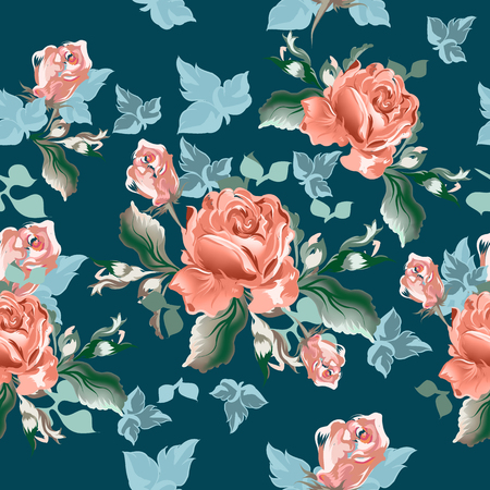 Beautiful floral vector pattern with watercolor rose flowers