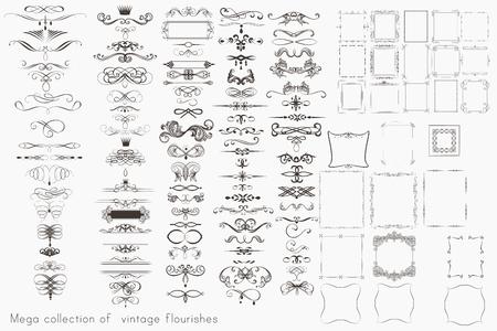 Colección de elementos caligráficos vectoriales, florituras y decoraciones de página, mega set de diseño