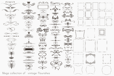 Collection of vector calligraphic elements, flourishes and page decorations, mega set for design