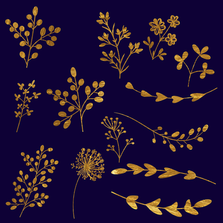 Set of floral vector elements in golden color