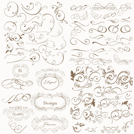 Huge set of vector flourishes for design