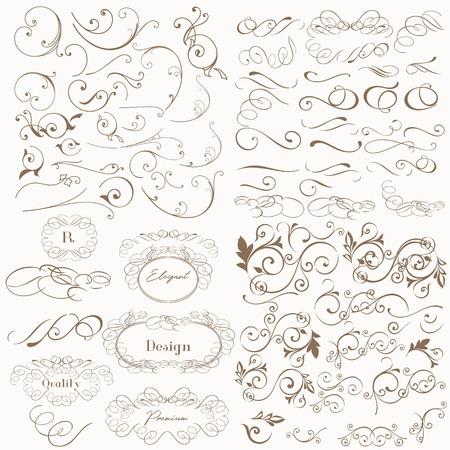 Huge set of vector flourishes for design