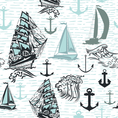 Simple summer wallpaper pattern with ships for design