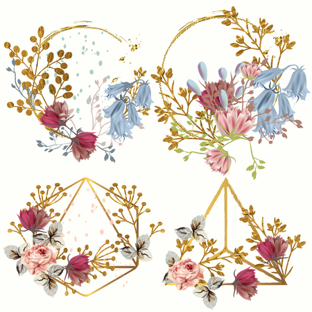 Collection of fashion boho frames from geometric shapes and flowers
