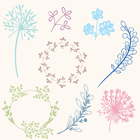 Set of vector florals for design