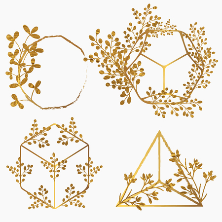 Set of vector golden frames in floral bohemian style