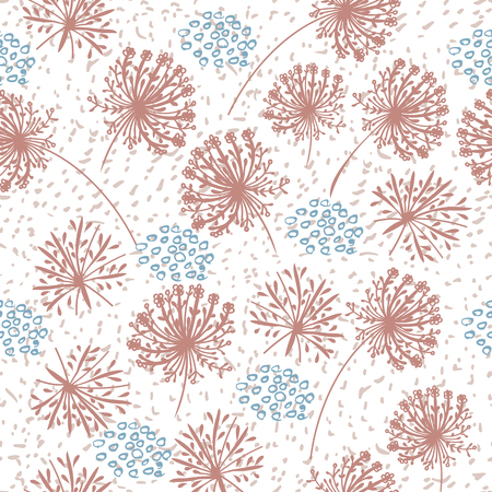 Cute simple rustic wallpaper pattern with strokes, spots and florals