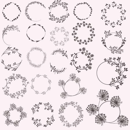 Huge set of vector floral rustic frames for design Illustration