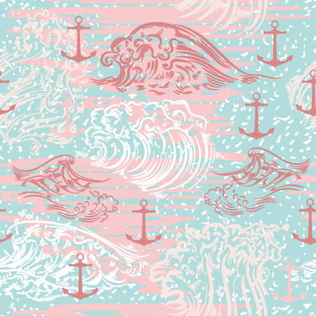 Ocean summer vector pattern with waves and anchors
