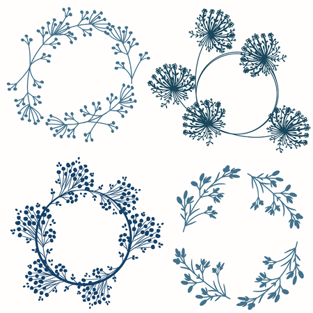 Set of vector decorative floral frames for design 일러스트