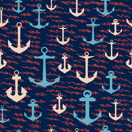 Sea vector rustic pattern with waves and anchors