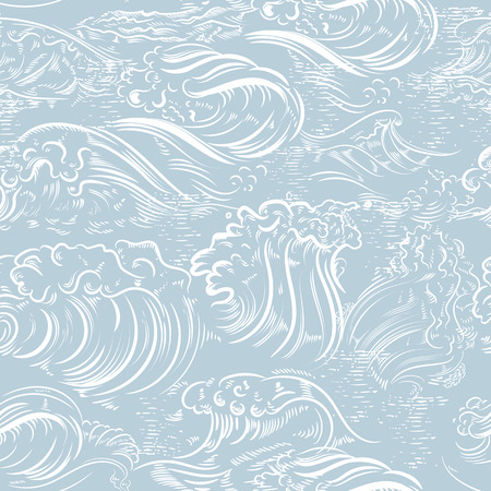 Fashion hand drawn engraved pattern with ocean waves ideal for wallpaper designs
