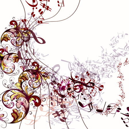 Fashion music background with vector notes and flourishes
