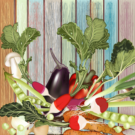 Organic hand drawn vector vegetables on wooden grunge background Illustration