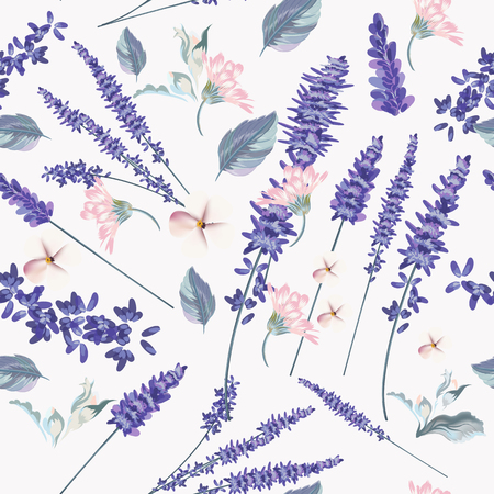 Floral seamless pattern with spring lavender flowers for desi