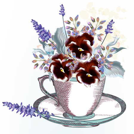Fashion vector illustration with vintage cup and spring  violets flowers Illusztráció