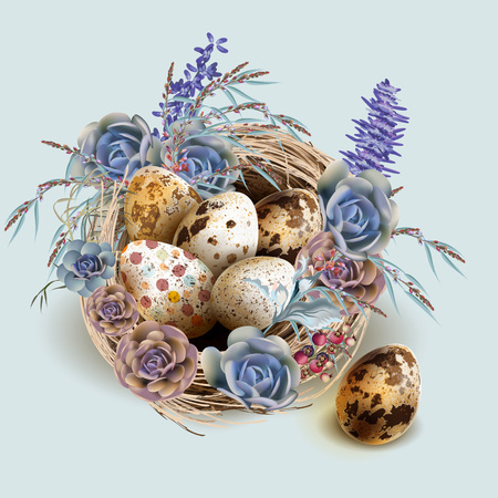 Easter vector vintage card with bird nest and eggs Imagens - 122393833