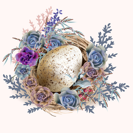 Easter vector vintage greeting card with nest and eggs