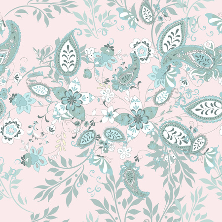 Floral seamless pattern with blue ethnic ornament and florals