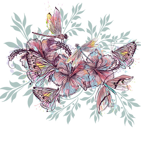 Fashion vector floral design from hibiscus flowers and dragonflies
