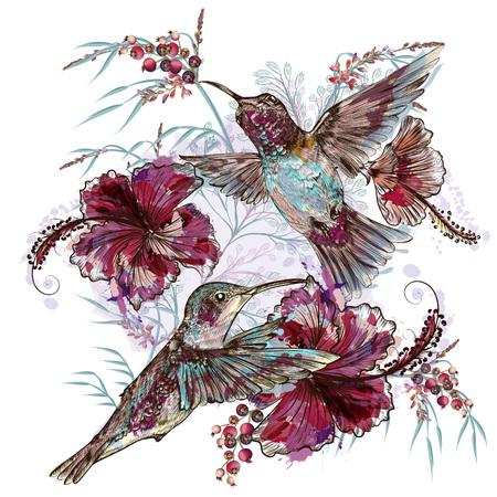 Fashion vector floral illustration with hummingbirds and hibiscus flowers Ilustração Vetorial