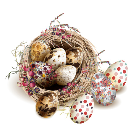 Easter vector background with realistic bird nest eggs and florals for design