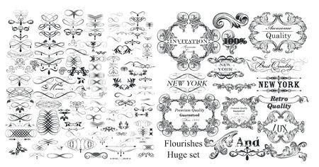 Große Sammlung von Vektor-Schnörkeln und kalligraphischen Elementen im Vintage-Stil