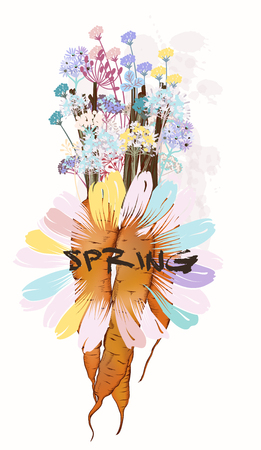 Fashion spring illustration with carrot and field pastel bright flowers Ilustrace