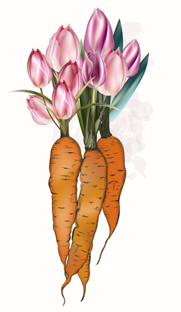 Fashion spring illustration with carrot and tulip flowers