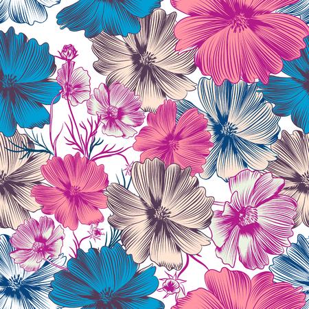 Patrón de vector floral con cosmos rosa y flores azules Ilustración de vector