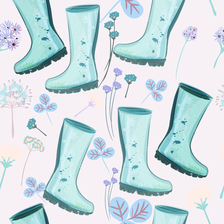 Cute spring pattern with blue rubber boots and flowers for design Stock Illustratie