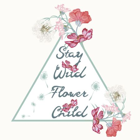 Boho fashion hippie design, stay wild flower child ideal for T-shirt prints