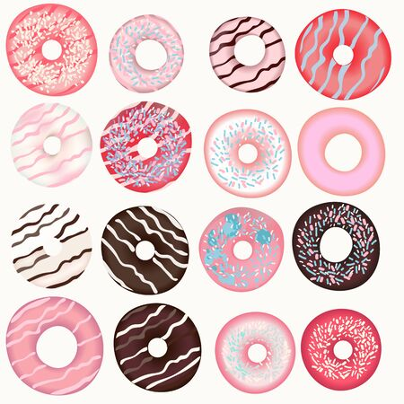 Collection of vector sweet pink, brown, beige donuts for design Banque d'images - 131296101