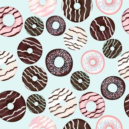 Vector pattern with sweet brown chocolate donuts for design Banque d'images - 131296103